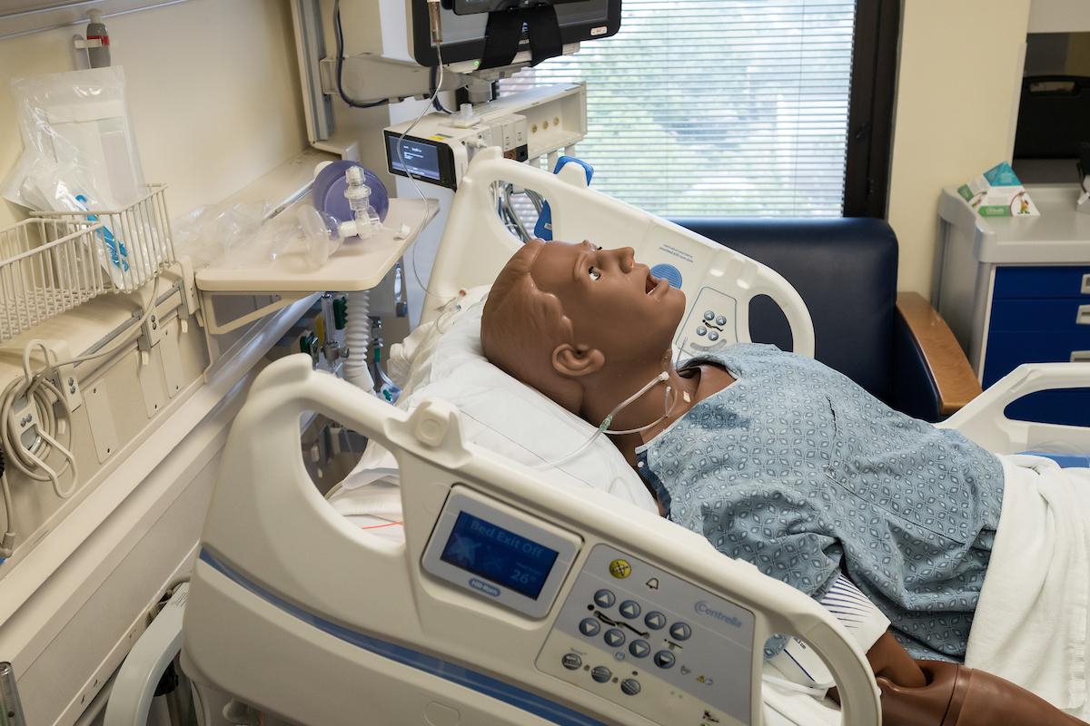 dummy in medical bed