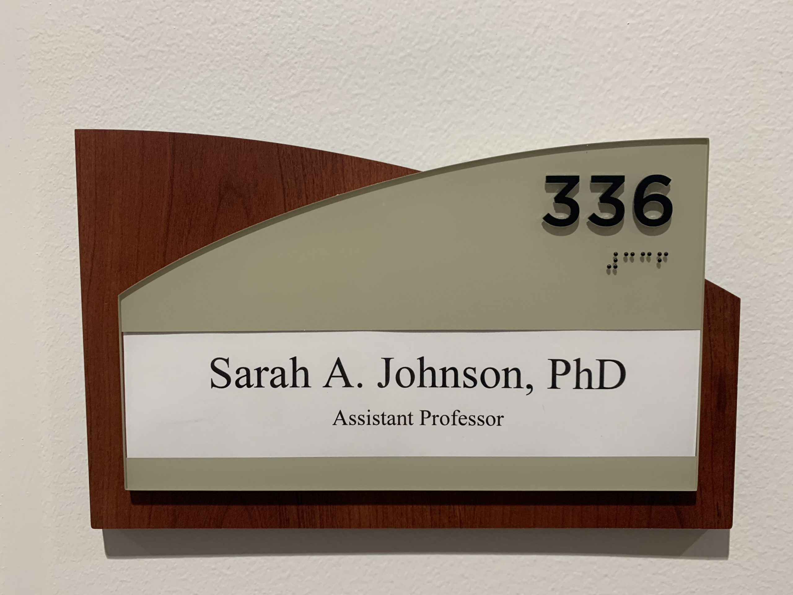Doctor Johnson's assistant professor office placard