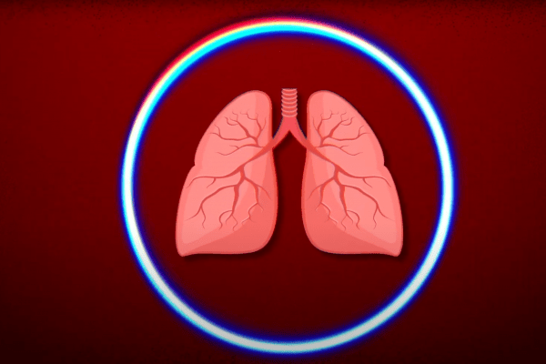 a graphic of lungs inside a protective circle representing the