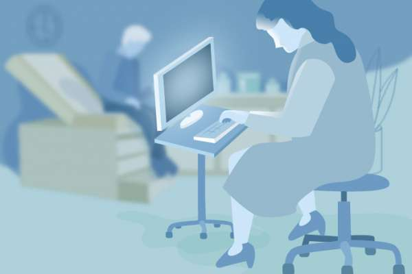 graphic of a woman physician sitting at a desk