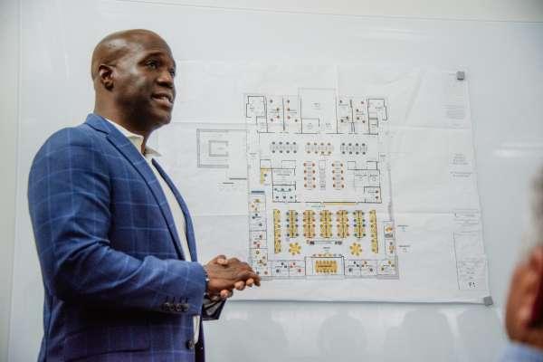 Duane Mitchell explains architectural plans