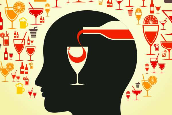 graphic of a person's head with a wine glass overlaid having wine poured into it
