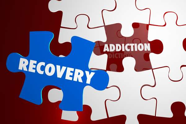 Addiction Recovery 3d puzzle pieces Illustration