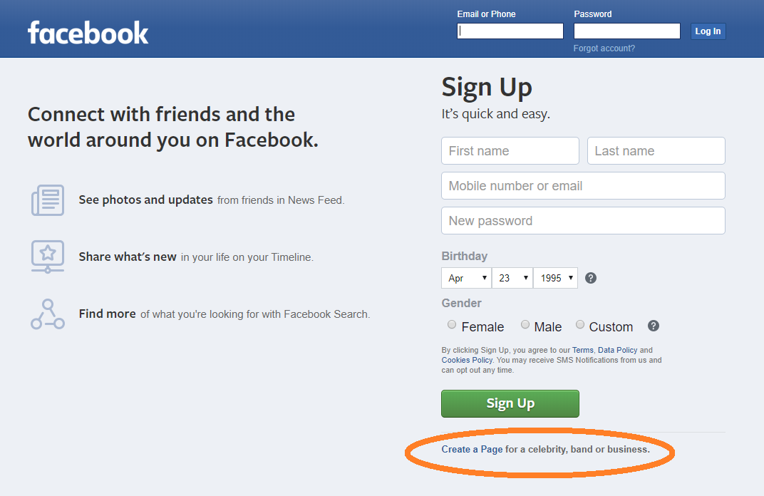 Facebook sign-up page with link to create professional page highlighted