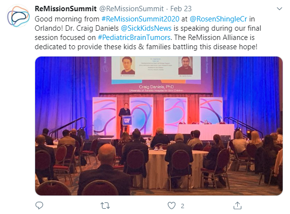 Tweet exampl reading: Good morning from #ReMissionSummit2020 at @RosenShingleCr in Orlando! Dr. Craig Daniels @SickKidsNews is speaking during our final session focused on #PediatricBrainTumors. The ReMission Alliance is dedicated to provide these kids & families battling this disease hope!