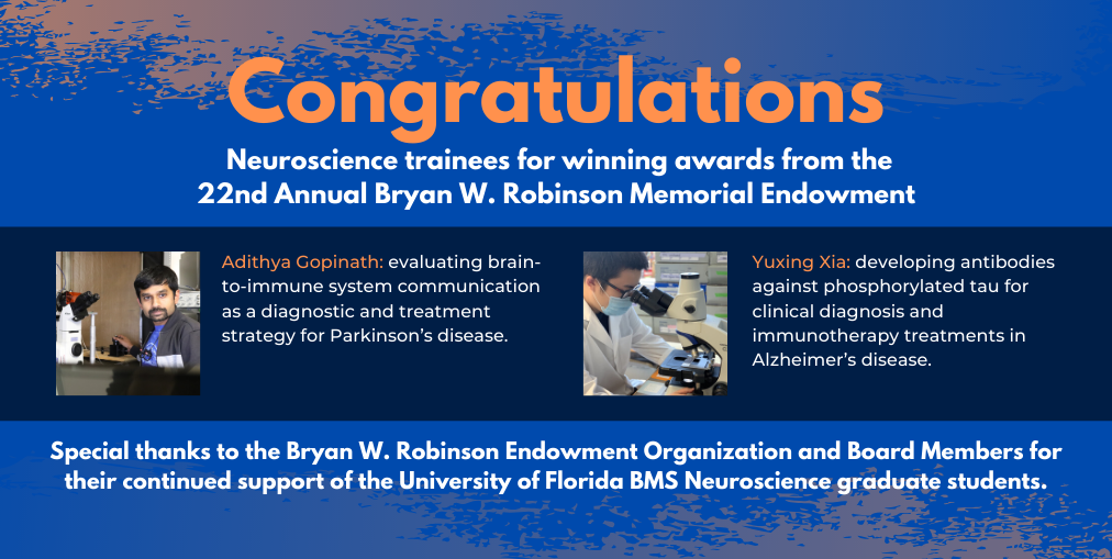 Adithya Congratulations Gopinath and Yuxing Xia for winning an endowment award for their research on Parkinson's and Alzheimer's disease