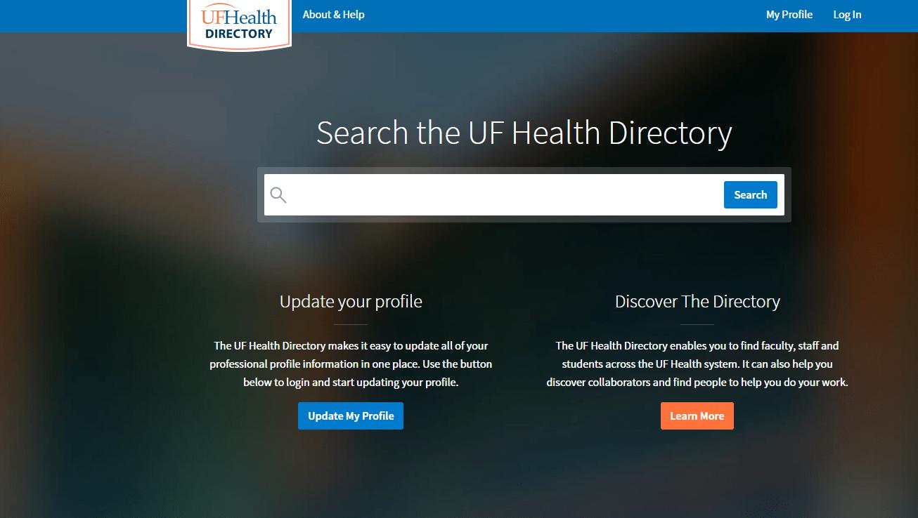 screenshot of the U-F Health Directory