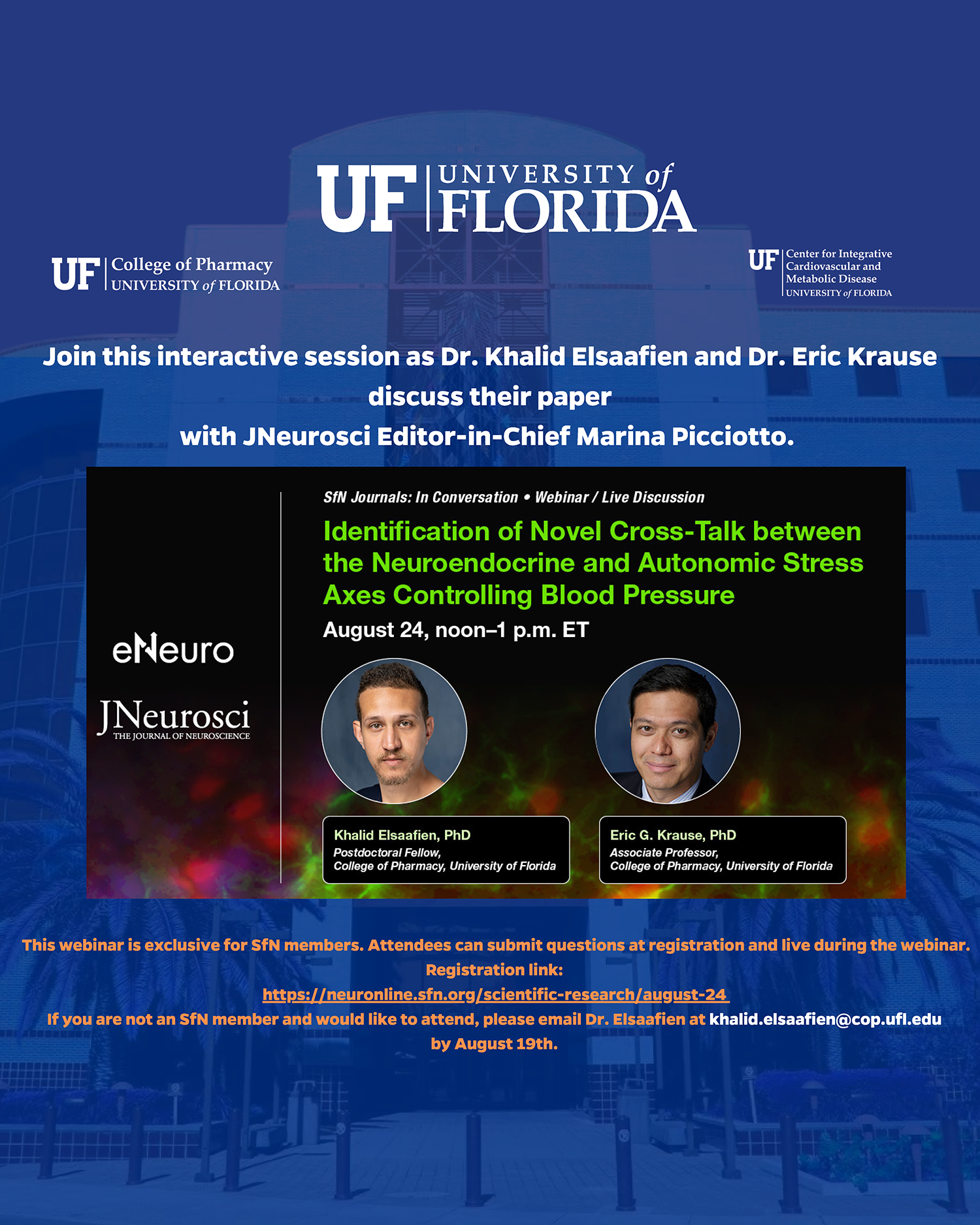 """Join this interactive webinar, """"Identification of Neovel Cross-Talk between neuroendocrine and autonomic stress axes controlling blood pressure"""". August 24 from noon to 1 p-m eastern time"""